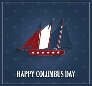 Columbus Day poster with ship on blue background